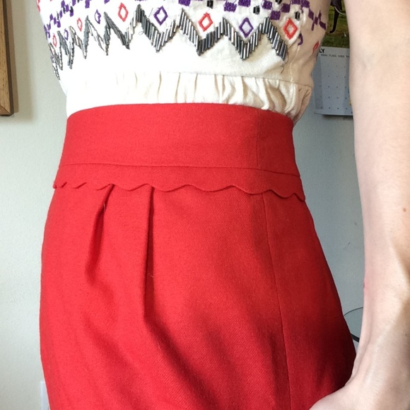 J. Crew Dresses & Skirts - J. Crew Red Scalloped Trim Hips Professional Skirt